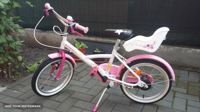 190b3d415 Vand bicicleta 16    B-TWIN LILOO PRINCESS culoare alb roz copii ...